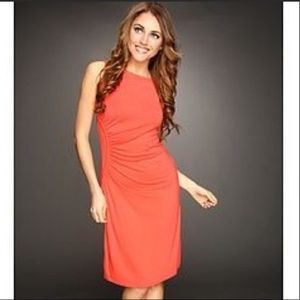 Tommy Bahama Coral Tambour Ruched Side Dress